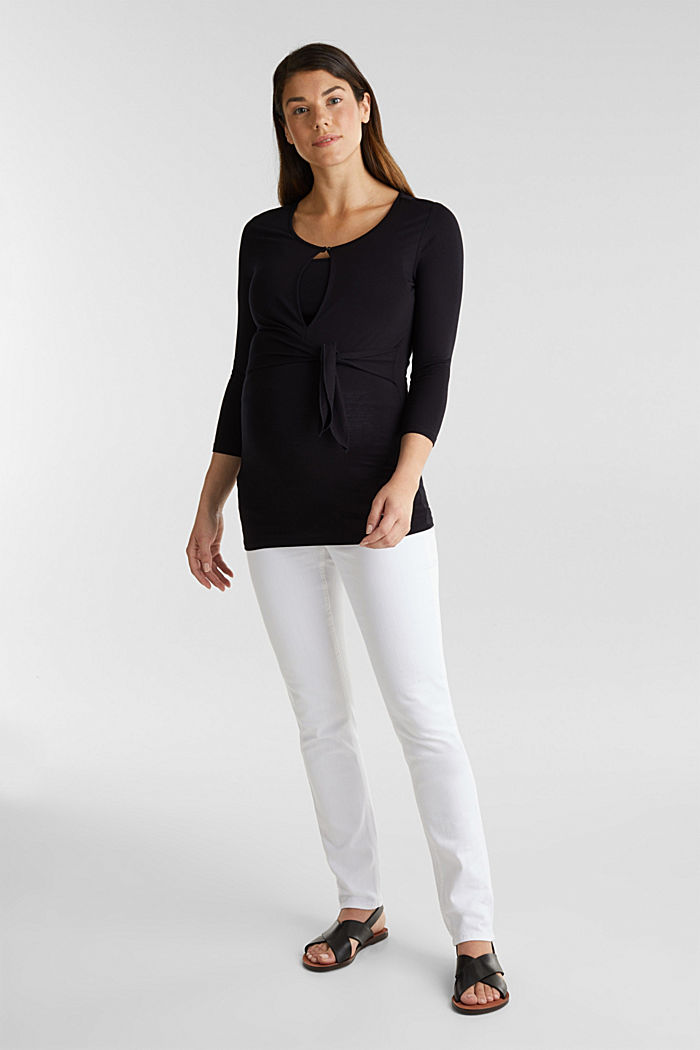 Basic jeans with an over-bump waistband, WHITE, overview