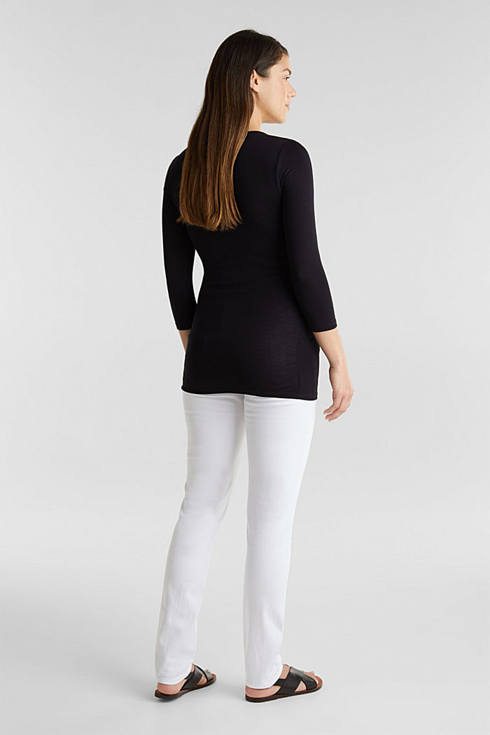 Basic jeans with an over-bump waistband, WHITE, detail image number 1