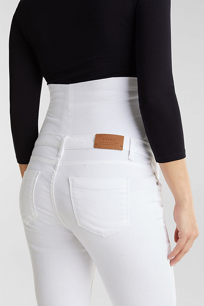 Basic jeans met band over de buik, WHITE, detail image number 3