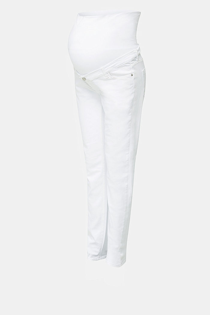 Basic jeans met band over de buik, WHITE, detail image number 4