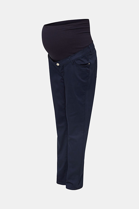 Ankle-length stretch trousers with an over-bump waistband