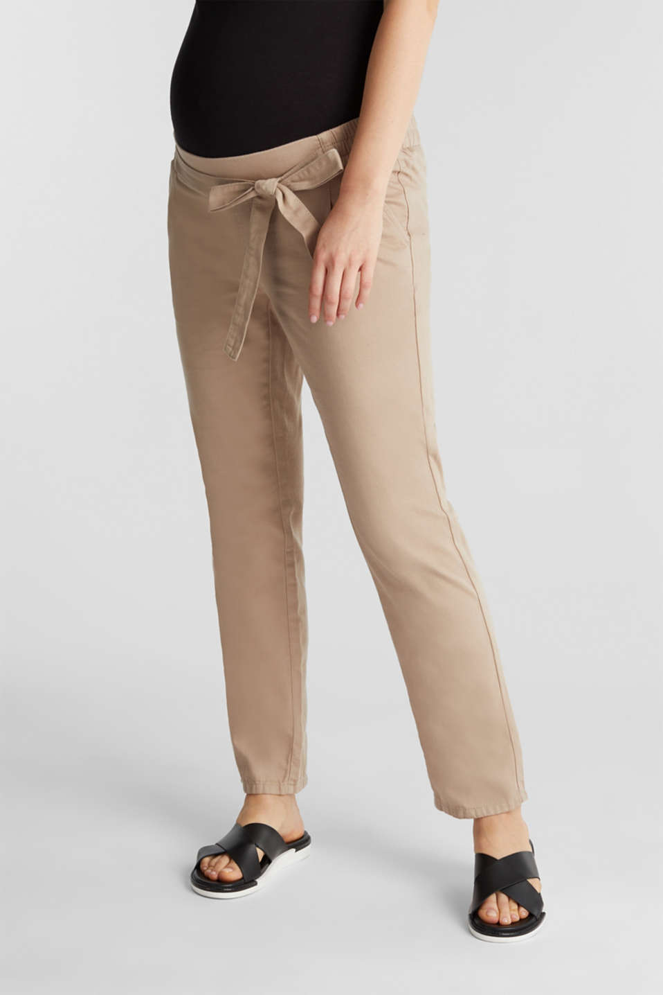 Blended linen: Trousers with under-bump waistband, LCBEIGE, detail image number 0