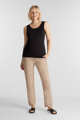 Blended linen: Trousers with under-bump waistband, BEIGE, detail