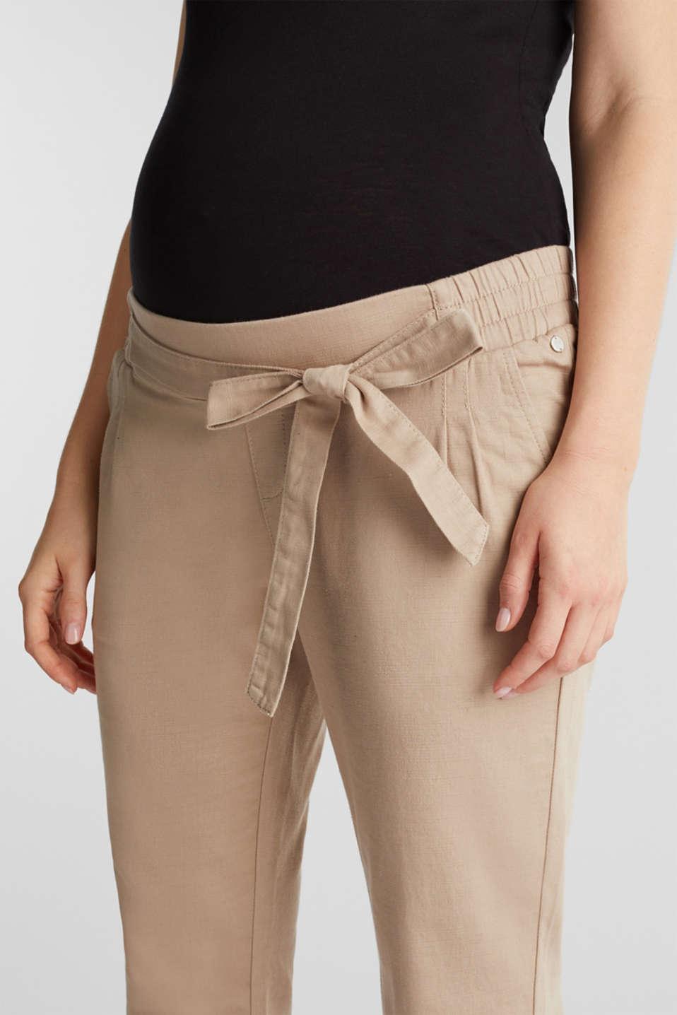 Blended linen: Trousers with under-bump waistband, LCBEIGE, detail image number 2