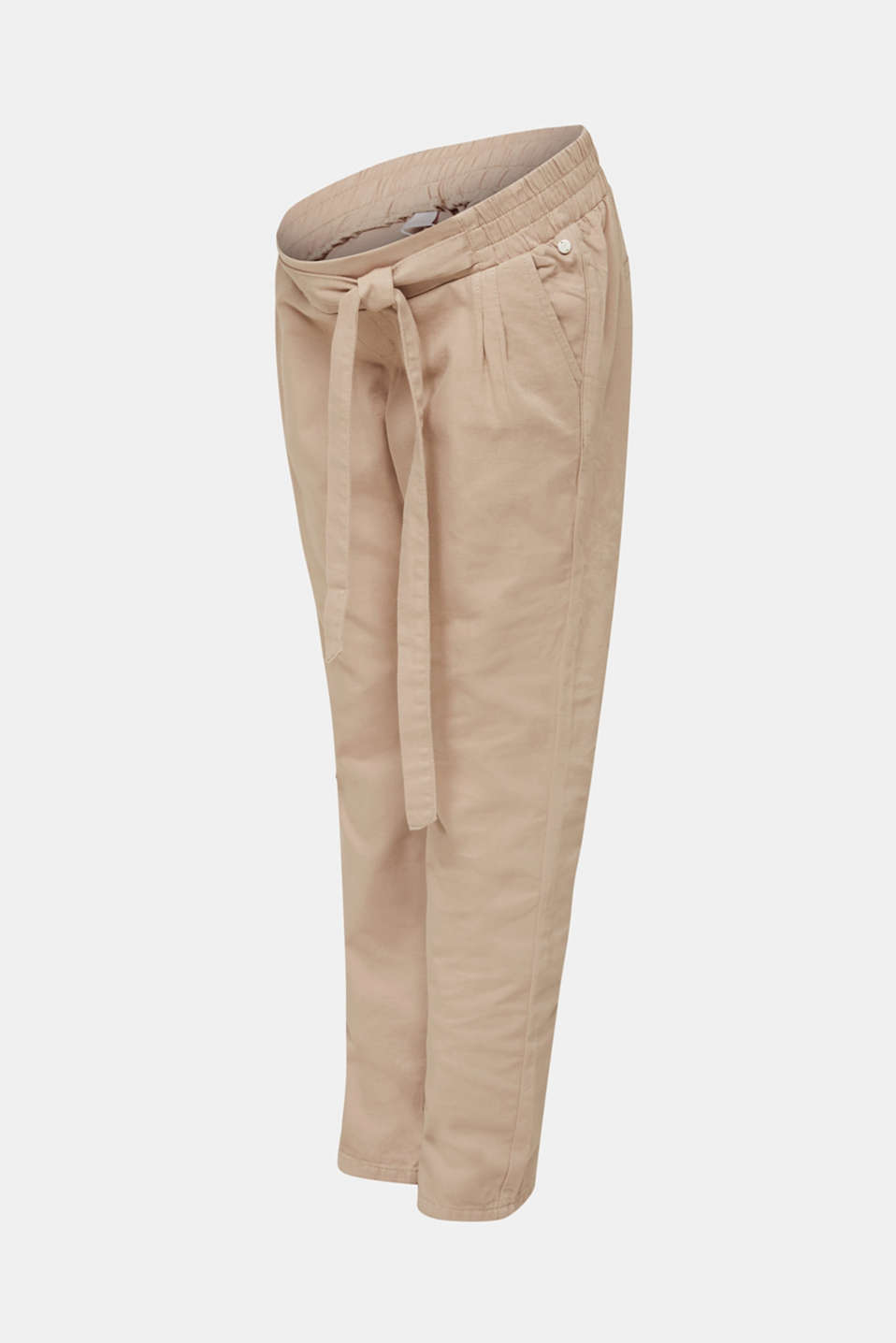 Blended linen: Trousers with under-bump waistband, LCBEIGE, detail image number 6