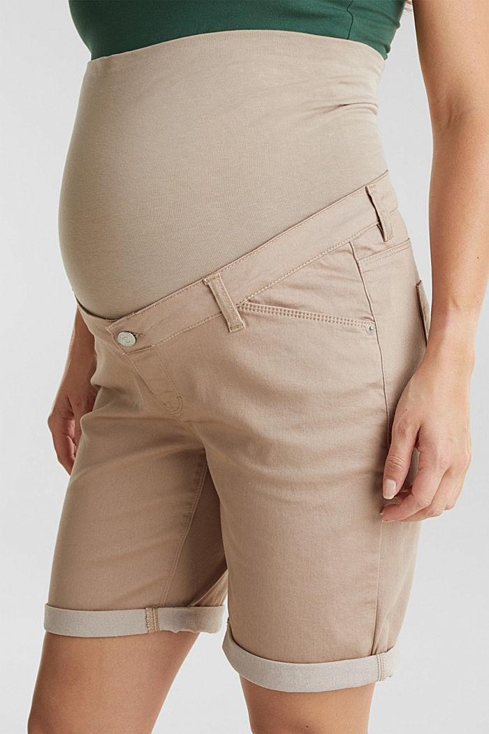 Pantaloncini stretch con fascia premaman, BEIGE, detail image number 1