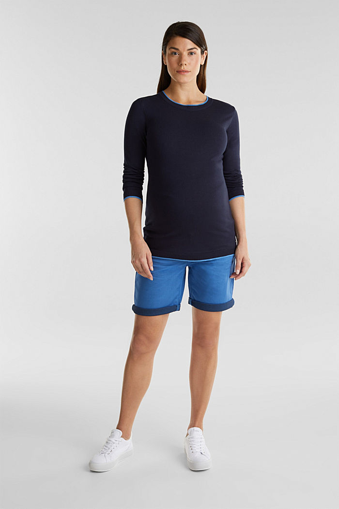 Stretch shorts with an over-bump waistband, GREY BLUE, detail image number 0