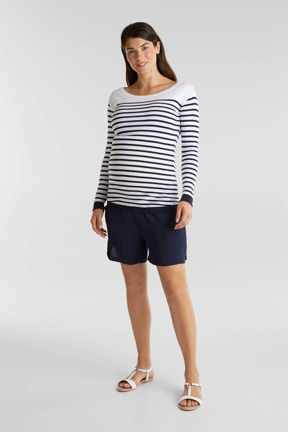 Crêpe shorts with an under-bump waistband, LCNIGHT BLUE, detail image number 1