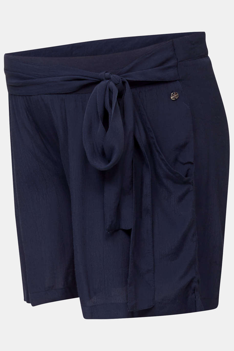 Crêpe shorts with an under-bump waistband, LCNIGHT BLUE, detail image number 6