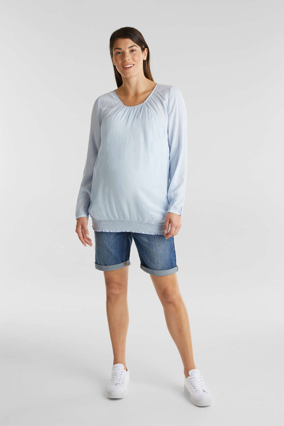 Esprit - Denim shorts with an over-bump waistband