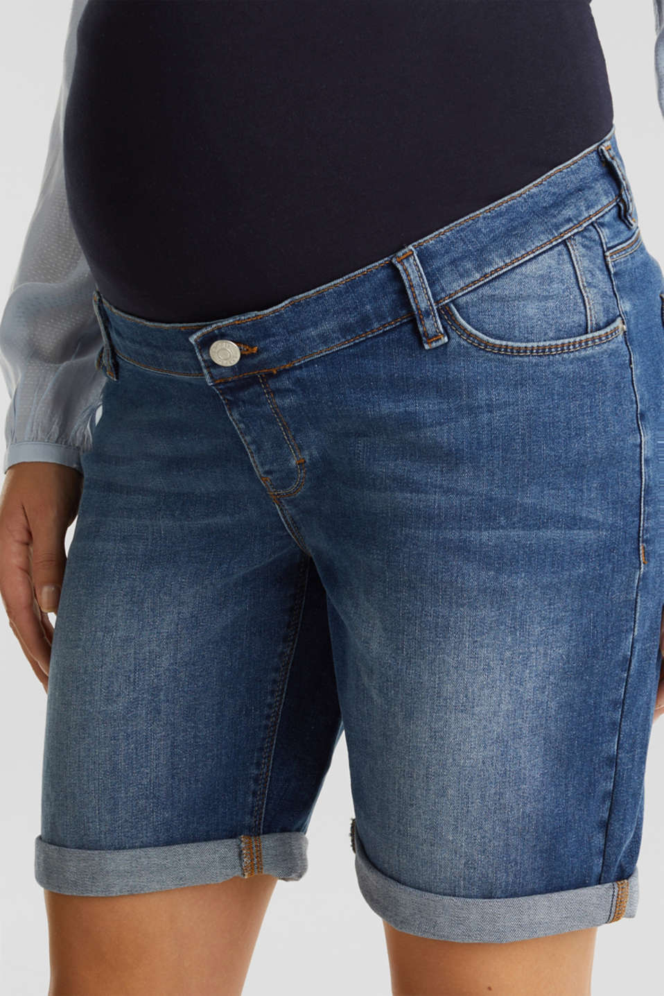 Denim shorts with an over-bump waistband, LCMEDIUM WASH, detail image number 1