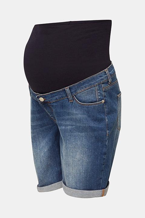 Denim shorts with an over-bump waistband
