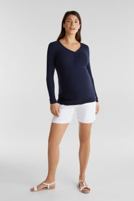 Denim shorts with an over-bump waistband, LCWHITE, detail
