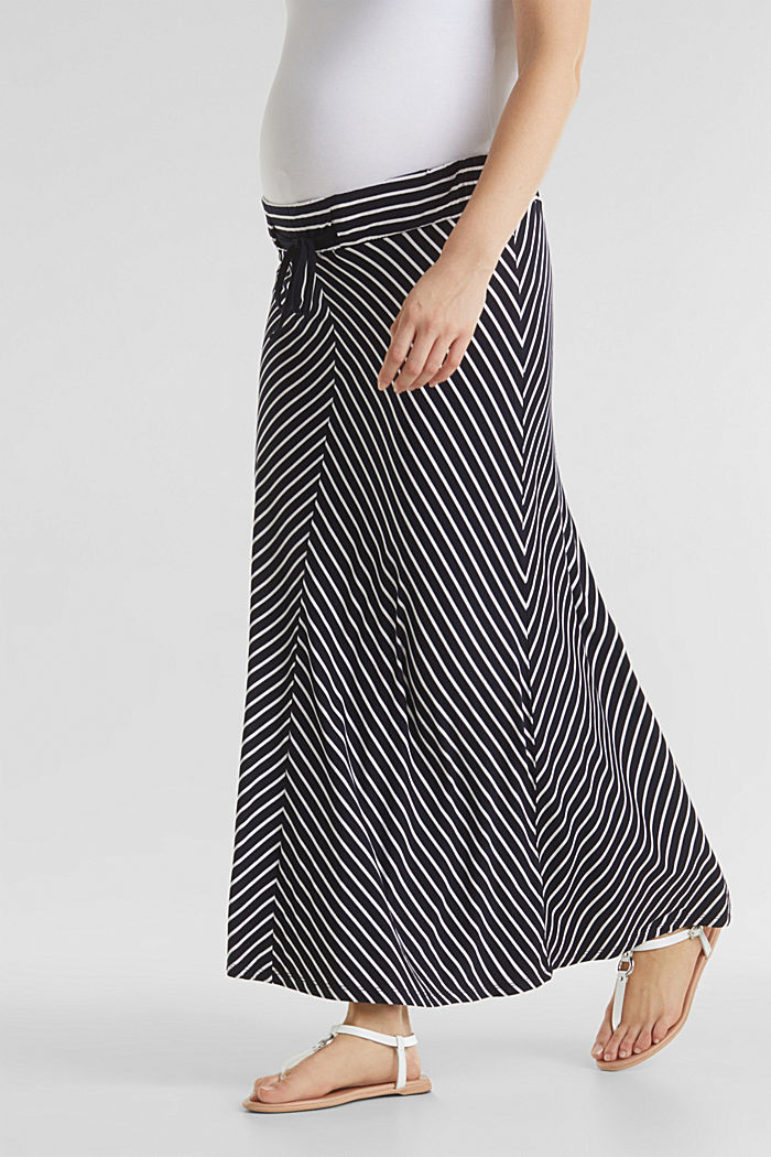 Striped skirt in stretch jersey, NIGHT BLUE, detail image number 0