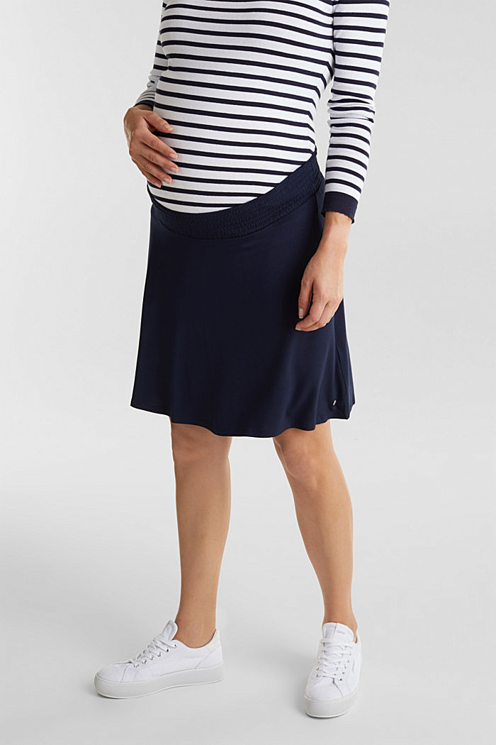 Flared skirt in stretch jersey, NIGHT BLUE, detail image number 0