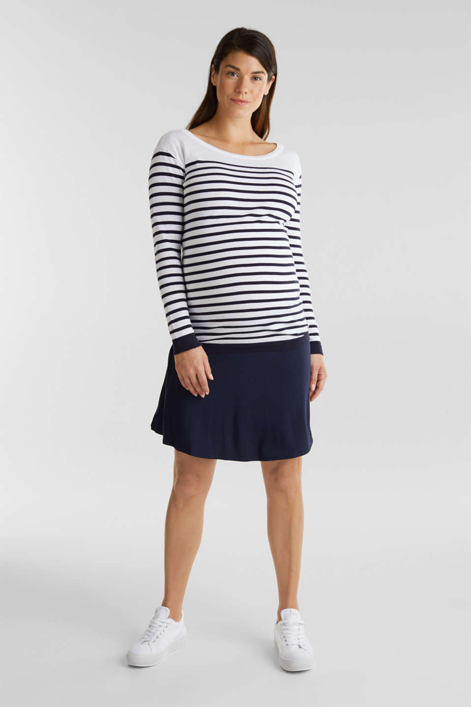 Flared skirt in stretch jersey, LCNIGHT BLUE, detail image number 1