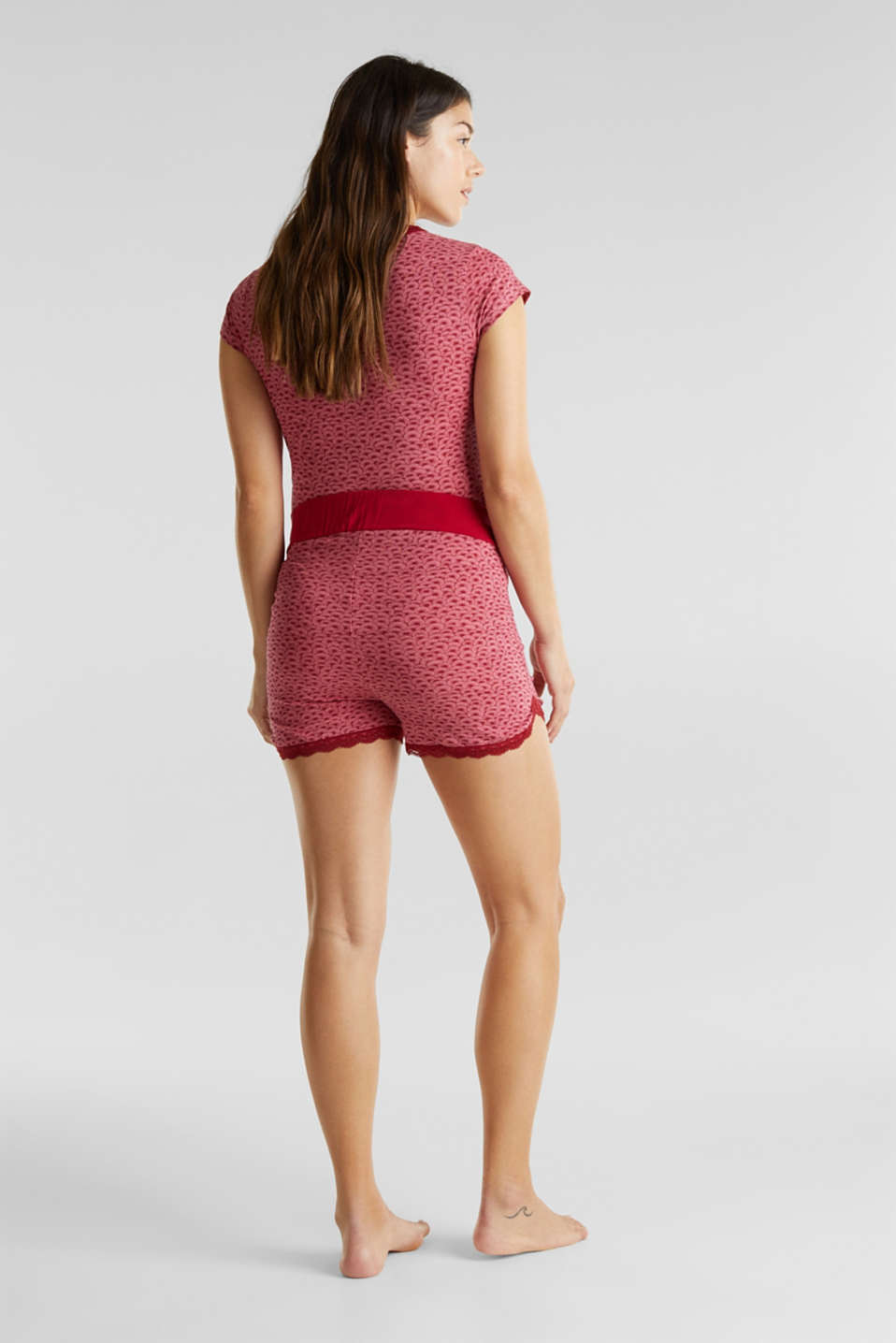 Stretch jersey shorts with lace, LCBLUSH, detail image number 3