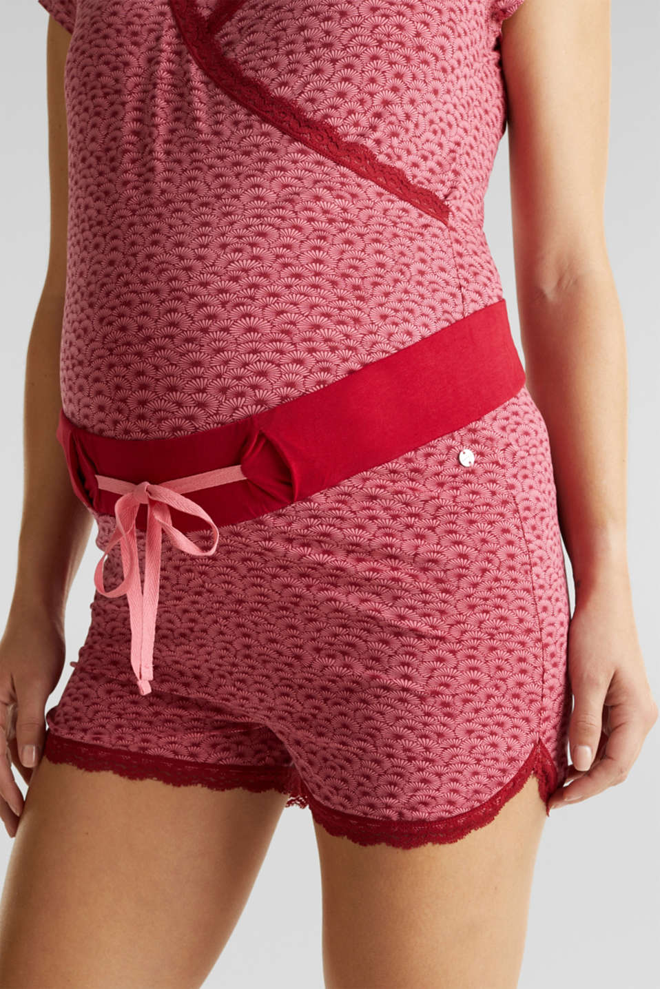 Stretch jersey shorts with lace, LCBLUSH, detail image number 2