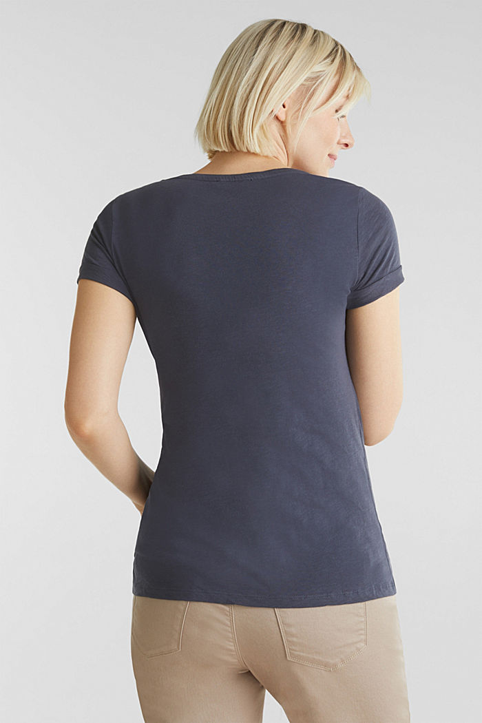Slub T-shirt with print, 100% cotton, GUNMETAL, detail image number 3
