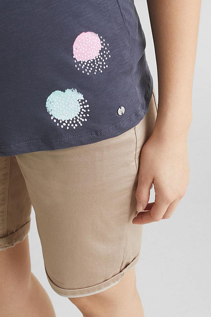 Slub-Shirt mit Print, 100% Baumwolle, GUNMETAL, detail image number 5