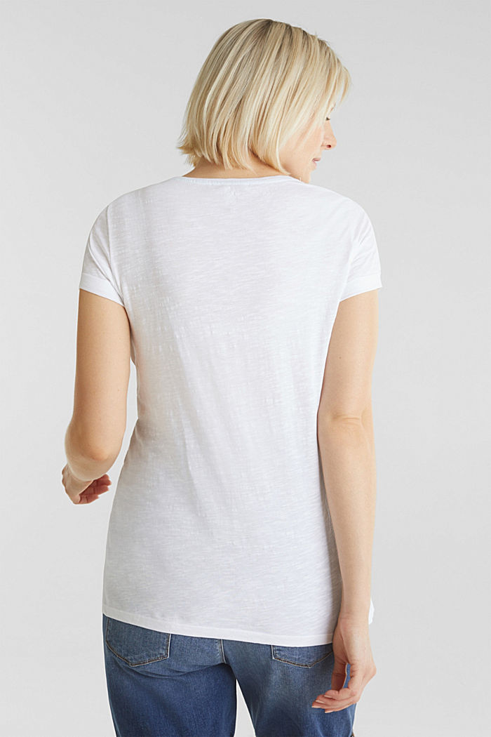 Slub T-shirt with print, 100% cotton, WHITE, detail image number 3