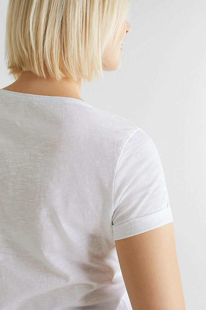 Slub T-shirt with print, 100% cotton, WHITE, detail image number 2