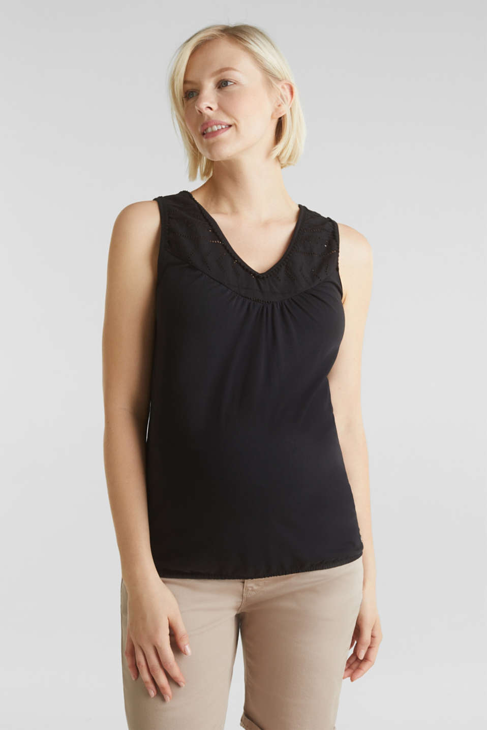 Top with embroidery, 100% cotton, LCBLACK, detail image number 0