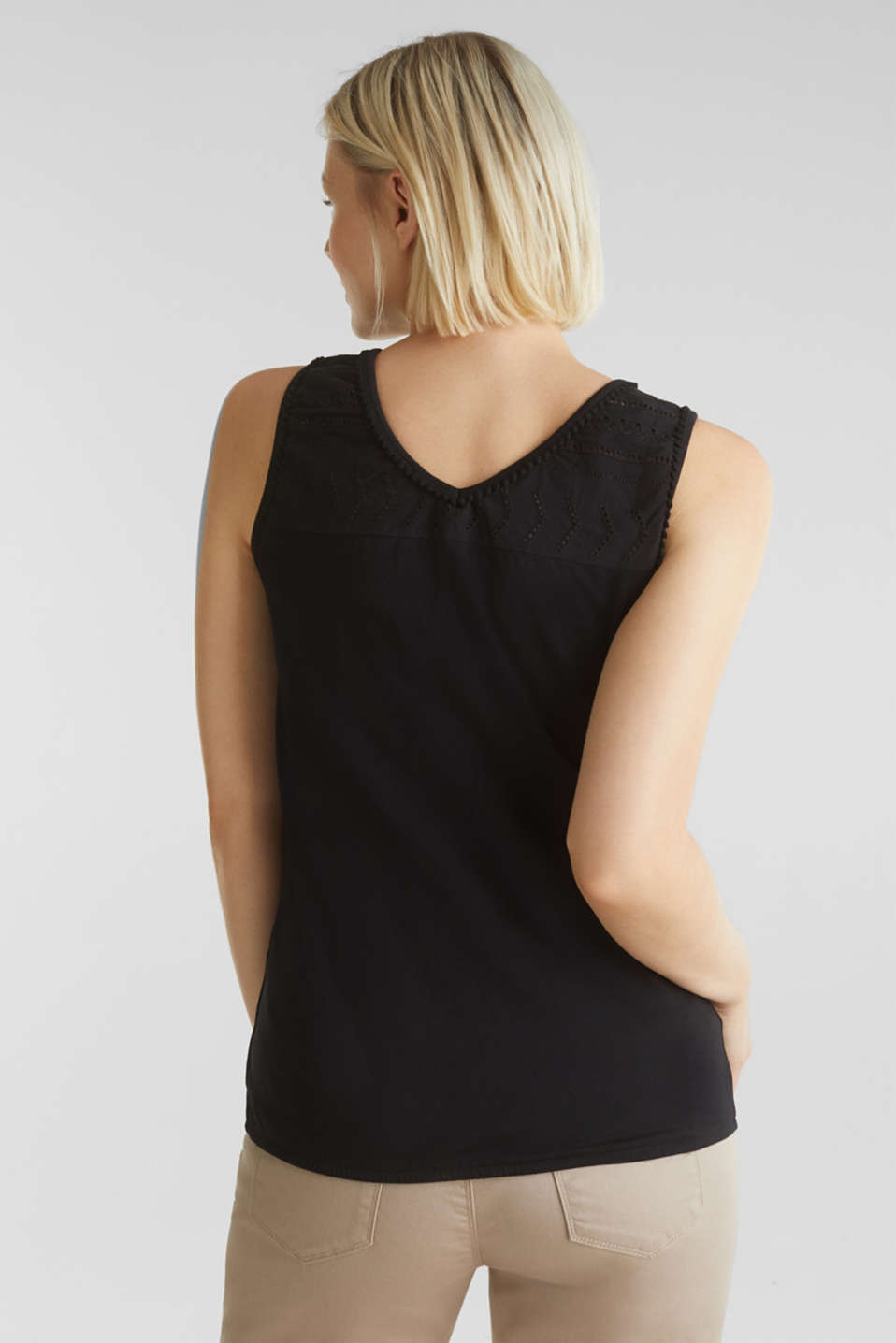 Top with embroidery, 100% cotton, LCBLACK, detail image number 3