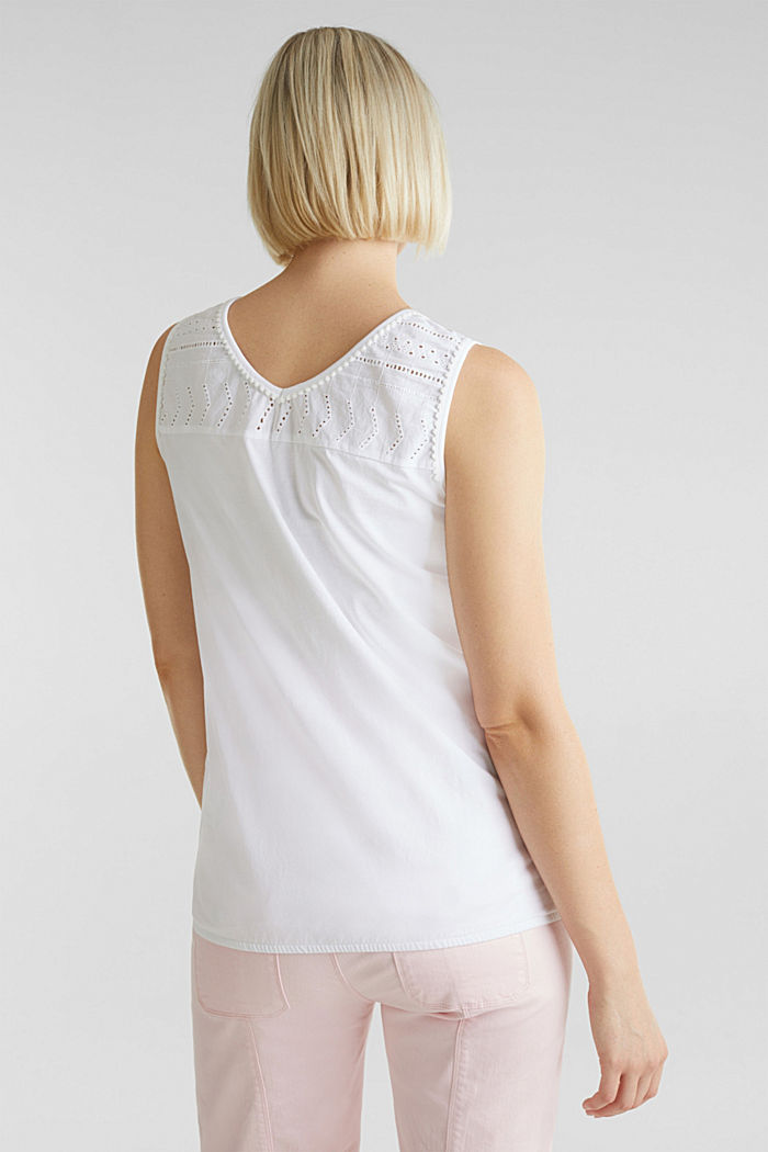 Top with embroidery, 100% cotton, WHITE, detail image number 3
