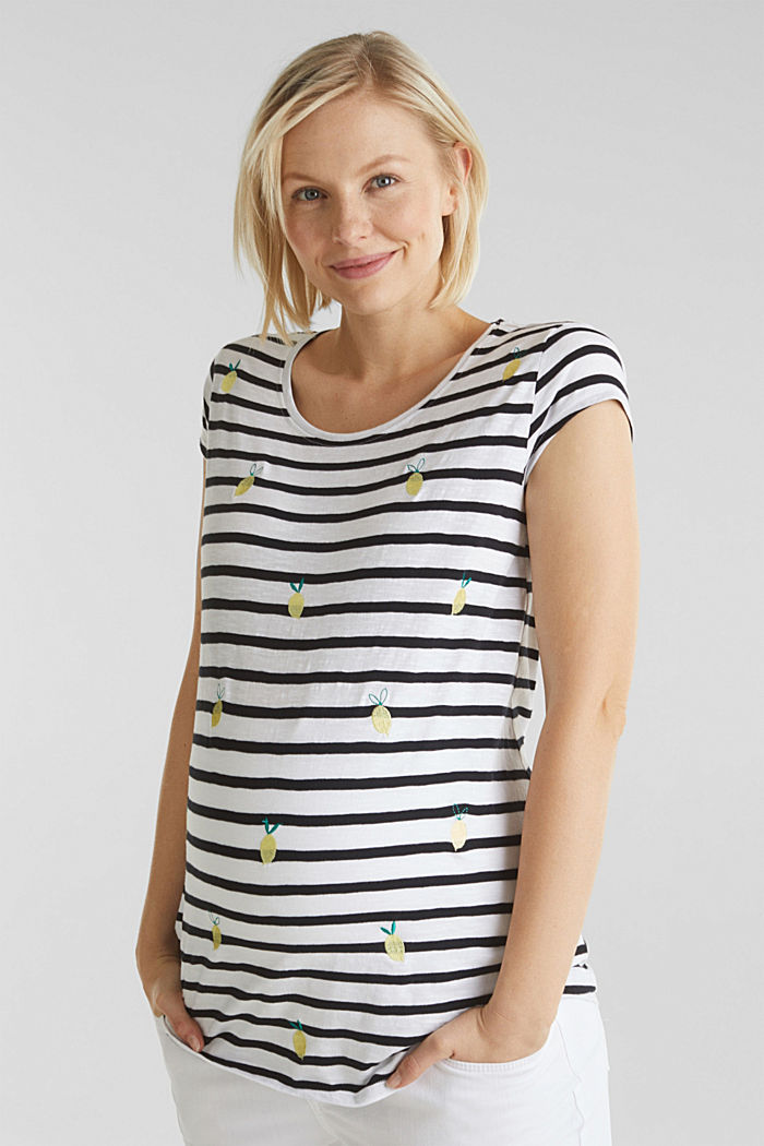 Top with embroidery, 100% cotton, BLACK, detail image number 0