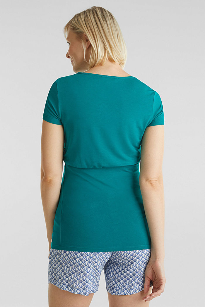 Stretch jersey nursing T-shirt, TEAL GREEN, detail image number 3