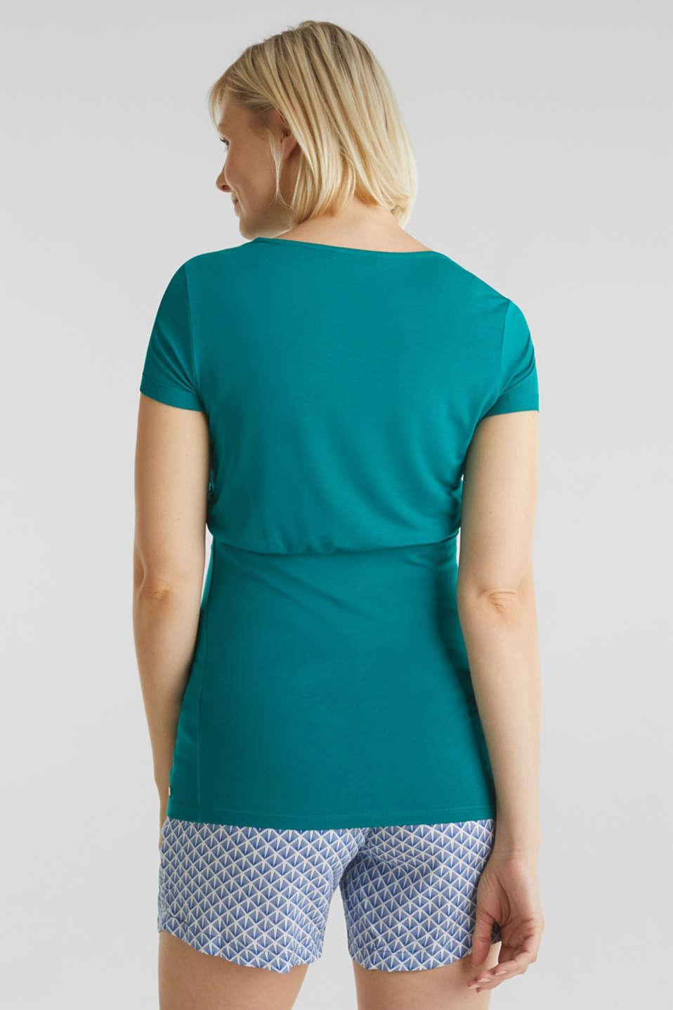 Stretch jersey nursing T-shirt, LCTEAL GREEN, detail image number 3