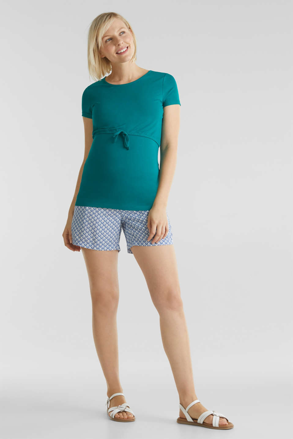 Stretch jersey nursing T-shirt, LCTEAL GREEN, detail image number 1