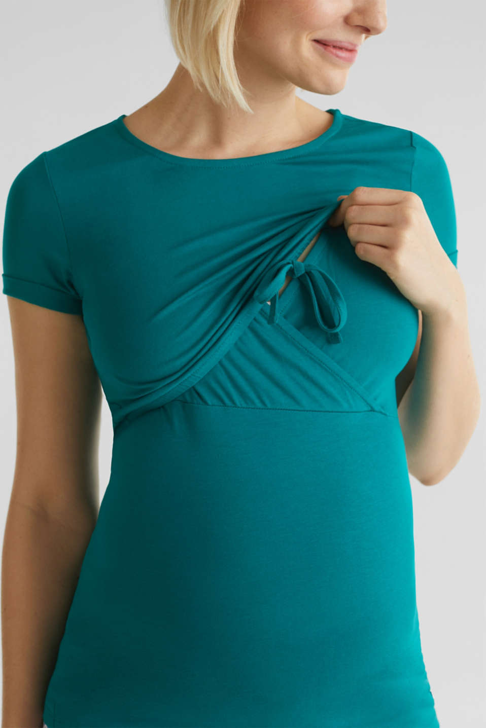 Stretch jersey nursing T-shirt, LCTEAL GREEN, detail image number 5