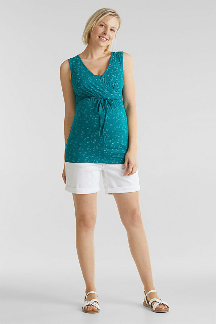 Stretch nursing top with a print, TEAL GREEN, detail image number 1