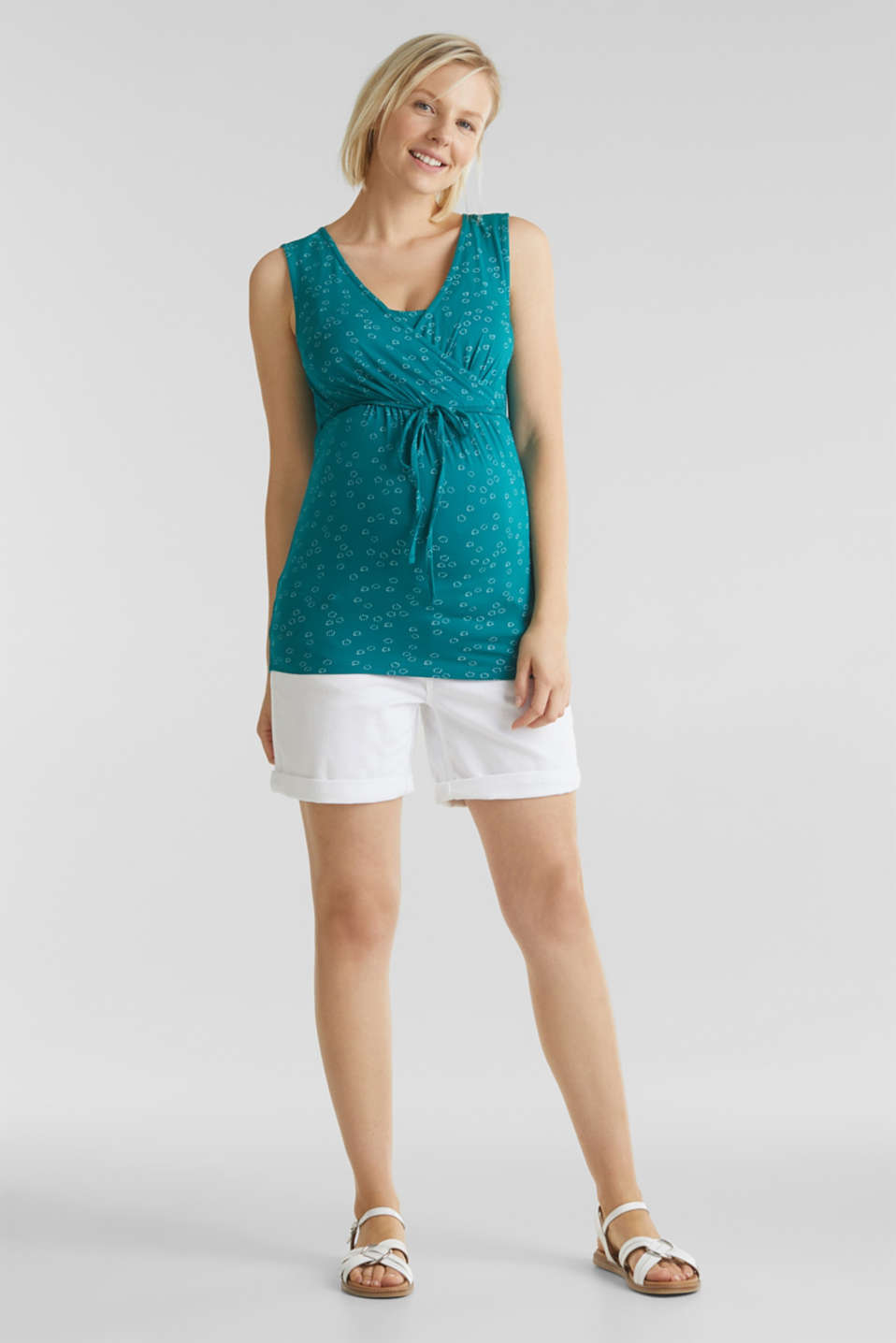 Stretch nursing top with a print, LCTEAL GREEN, detail image number 1