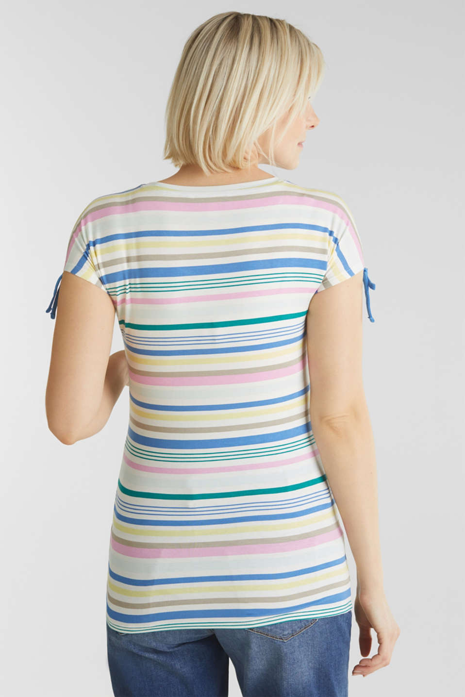 Stretch top with gathered shoulders, LCWHITE, detail image number 3