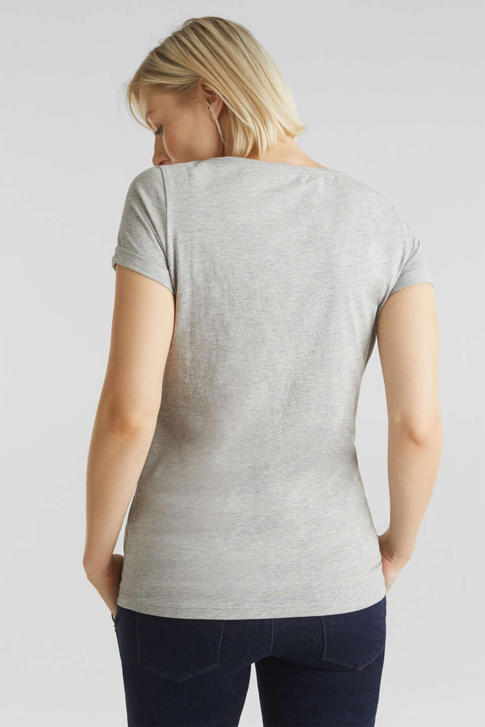 Top with embroidery, 100% cotton, LCLIGHT GREY MEL, detail image number 3