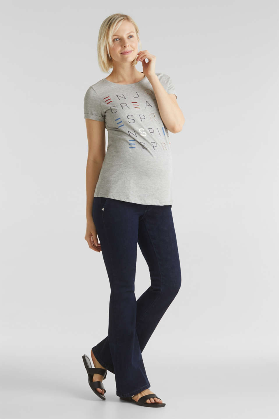 Top with embroidery, 100% cotton, LCLIGHT GREY MEL, detail image number 1