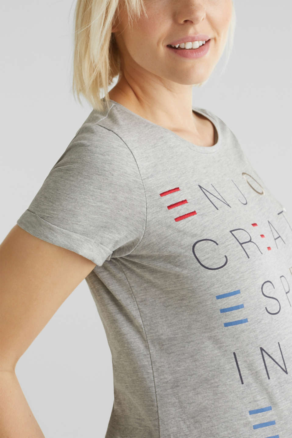 Top with embroidery, 100% cotton, LCLIGHT GREY MEL, detail image number 2