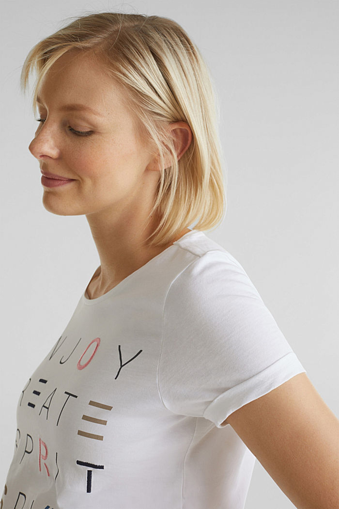 Top with embroidery, 100% cotton, WHITE, detail image number 2