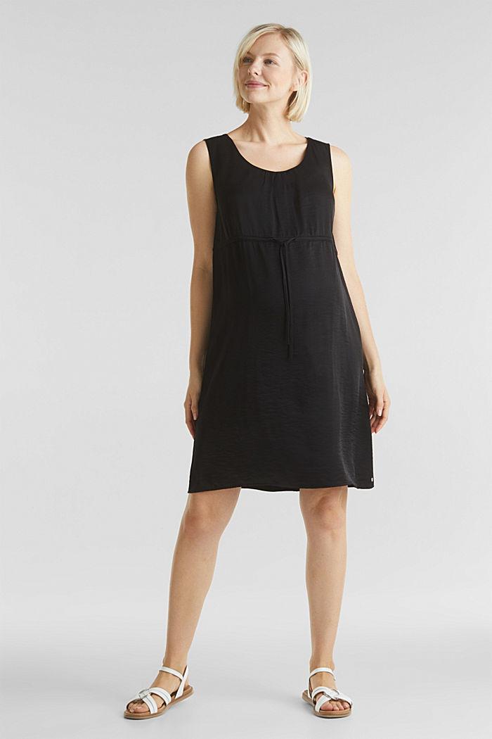 Web-Kleid mit Tunnelzug, BLACK, detail image number 1