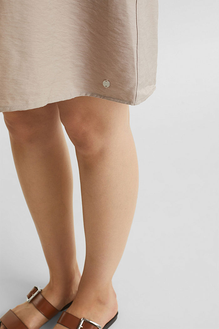 Woven dress with drawstring, BEIGE, detail image number 3