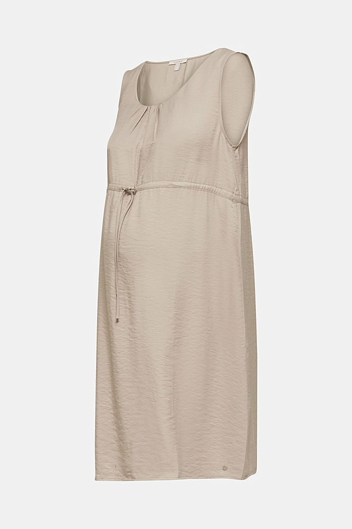 Woven dress with drawstring, BEIGE, overview