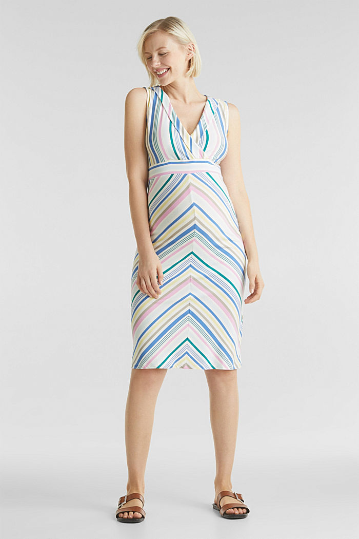 Wrap-over effect, stretch jersey dress, WHITE, detail image number 0