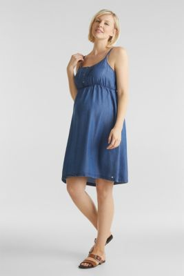 Nursing dress with straps, MEDIUM WASH, detail