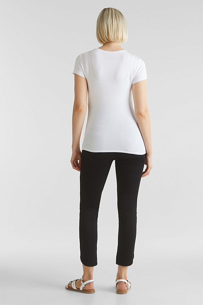 7/8-length stretch trousers with an over-bump waistband, BLACK, detail image number 2
