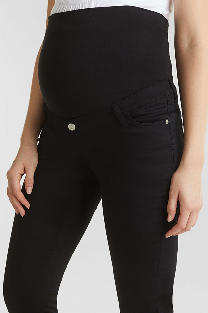 7/8-length stretch trousers with an over-bump waistband, BLACK, detail image number 1