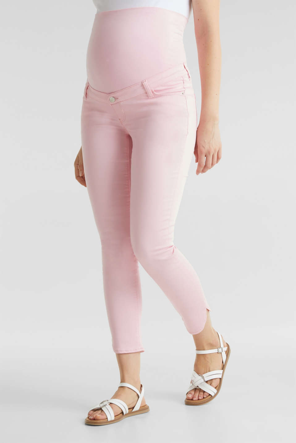 7/8-length stretch trousers with an over-bump waistband, LCLIGHT PINK, detail image number 0