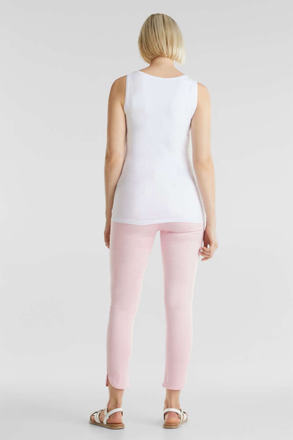 7/8-length stretch trousers with an over-bump waistband, LCLIGHT PINK, detail image number 3